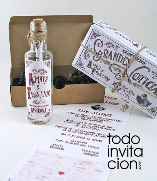 Invitaci n mensaje en botella vintage invitaciones y - Invitacion de boda original ...