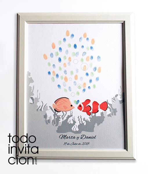 Cuadro de huellas peces invitaciones y detalles for Cuadros de peces