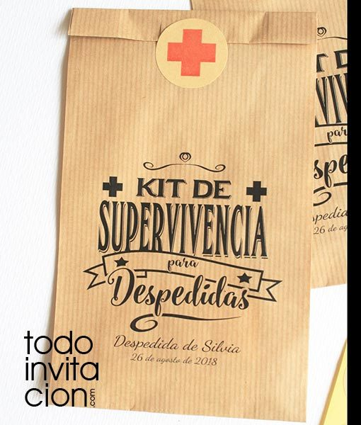 bolsas kraft kit de supervivencia despedida
