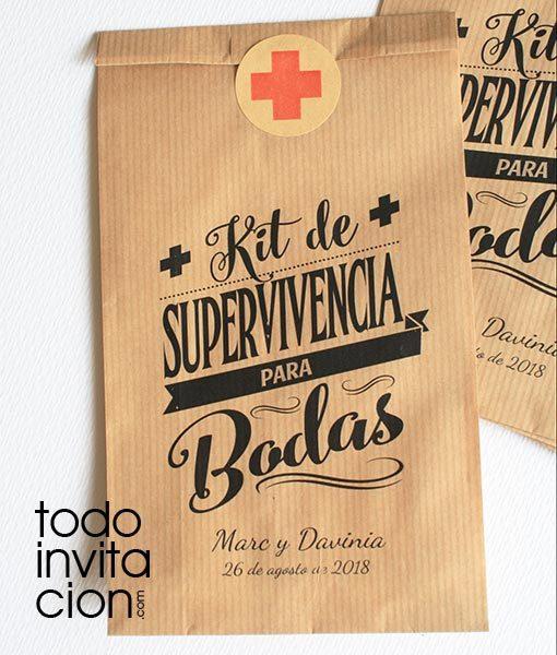 bolsas kraft kit de supervivencia boda