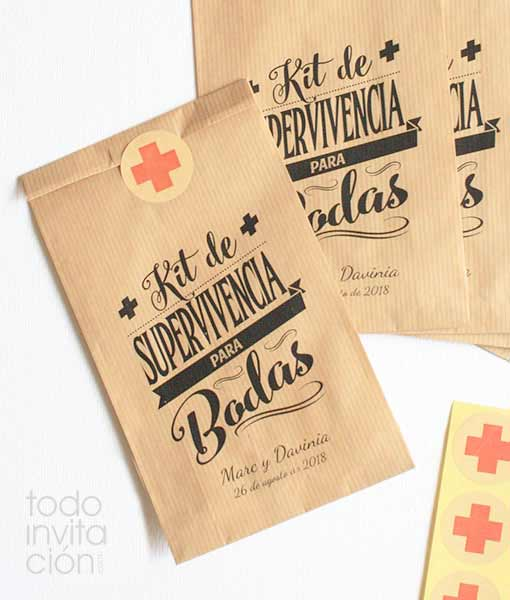 bolsa kit supervivencia para bodas