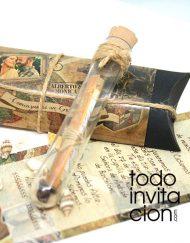 invitacion pergamino mensaje tubo cristal