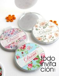 espejos para comunion bautizo flores