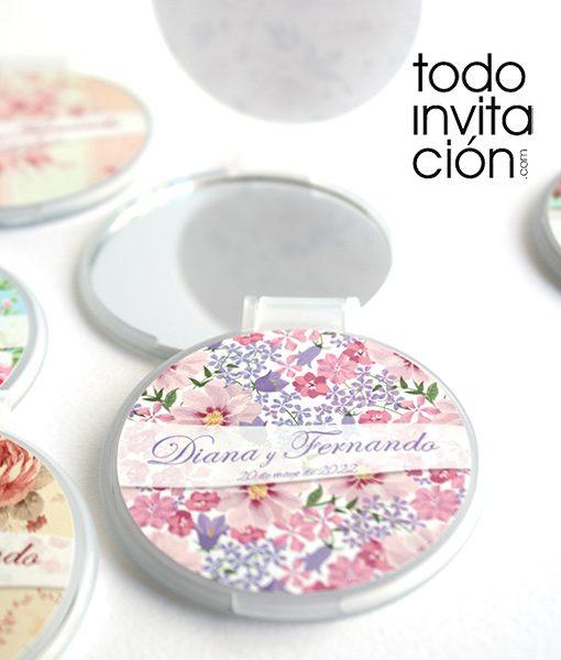 espejos para comunion bodas personalizados flores