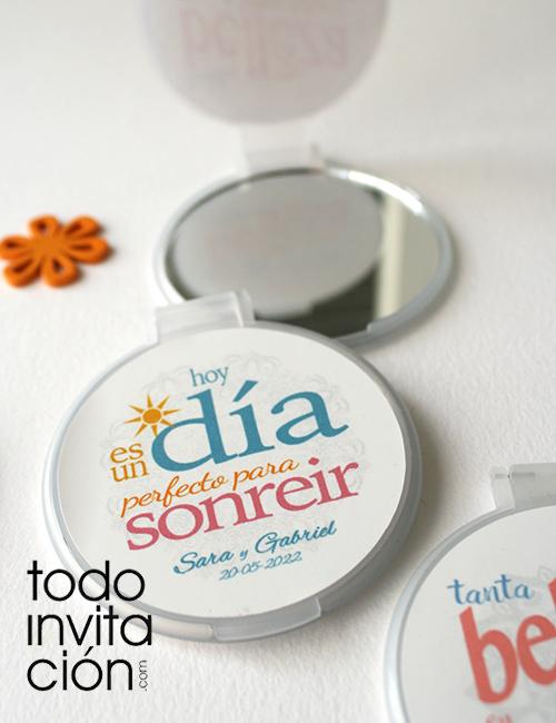 espejos con tapa personalizados con frases boda bautizo comunion
