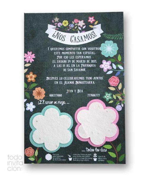 invitacion de boda plantable papel de semillas