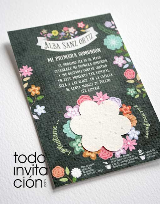 invitacion plantable de semillas