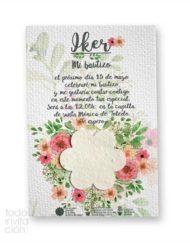 invitacion de bautizo plantable semillas flores