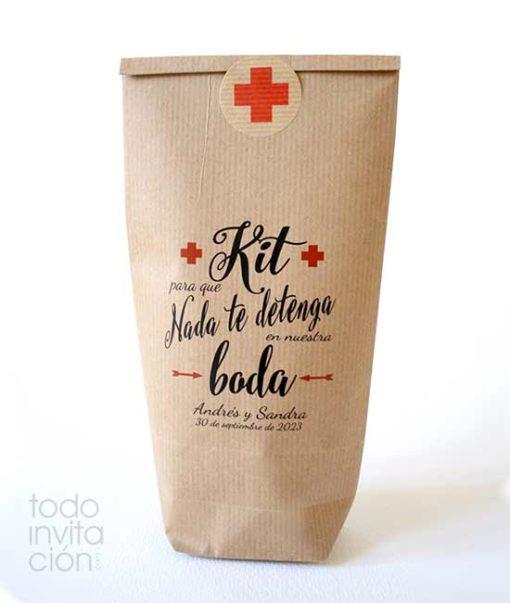 Bolsa kit supervivencia para bodas