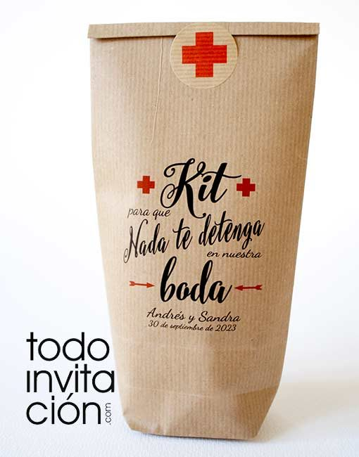 bolsa kraft kit supervivencia bodas