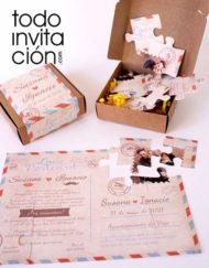 invitacion con caja puzzle para bodas postal