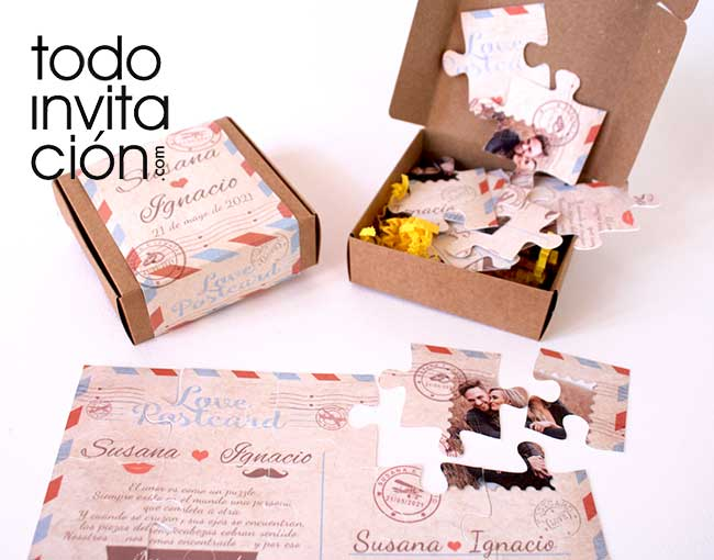 invitacion postal puzzle para bodas