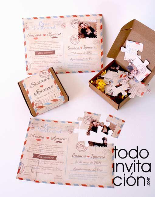 invitacion puzzle boda postal