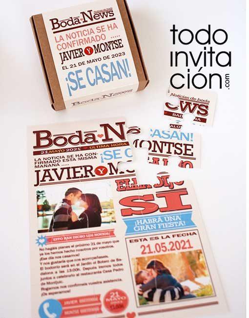 invitación puzzle bda portada de periodico