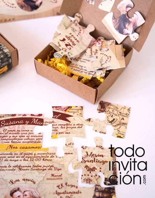 invitacion boda puzzle original