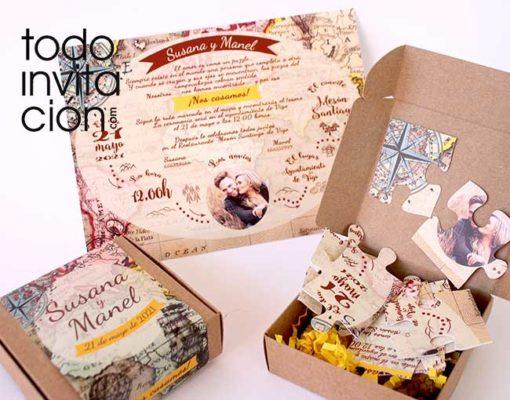 invitaciones puzzle para bodas diferentes