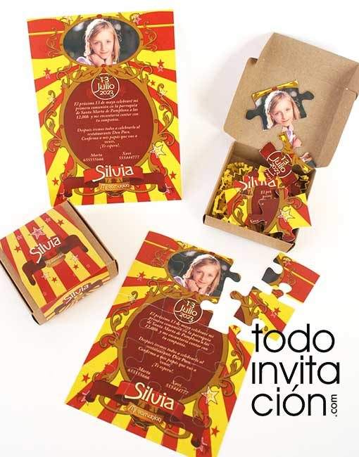 invitacion comunion puzzle circus divertida