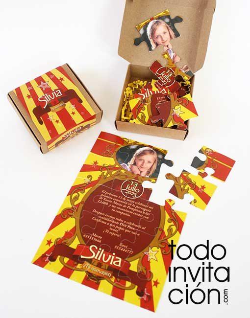 invitacion original puzzle circus comunion