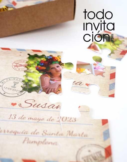 invitacion puzzle postal comunion divertida postal