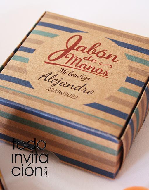 Jabón artesanal comunion bautizo en caja kraft