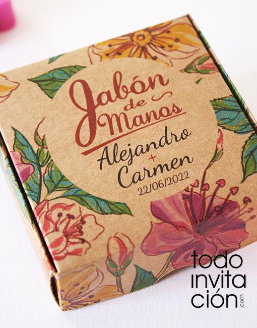 jabon para bodas en caja de kraft personalizada