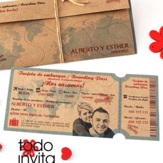 invitación de boda tarjeta embarque billete avión kraft