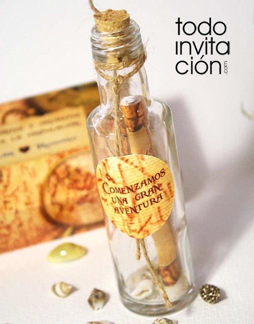 invitacion de boda botella mapa pirata