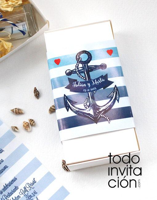 invitación de boda botella marinera