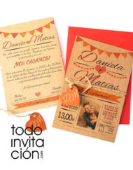 invitación de boda kraft naranja autum