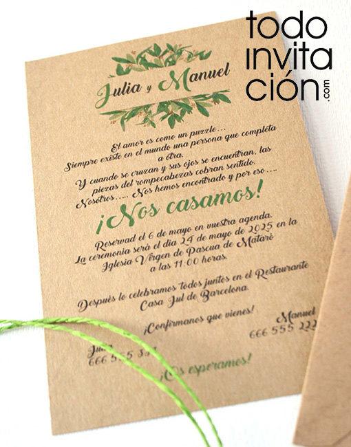 invitación de boda kraft verde spring