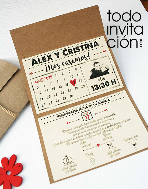 invitación de boda calendario kraft