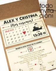 invitación de boda calendario kraft