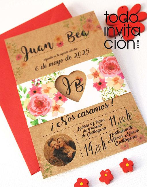 invitación de boda kraft flower flores