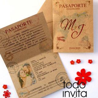 invitación de boda pasaporte kraft