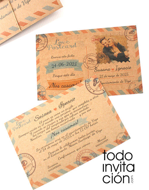 invitación de boda postal kraft