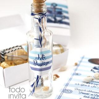 invitación botella marinera bautizo