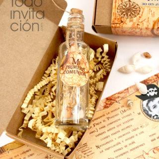 invitación mensaje en botella comunion pirata