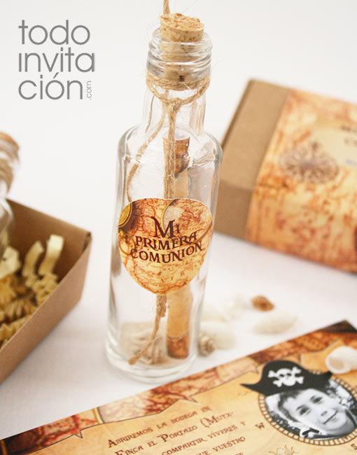 invitación comunión mensaje en botella