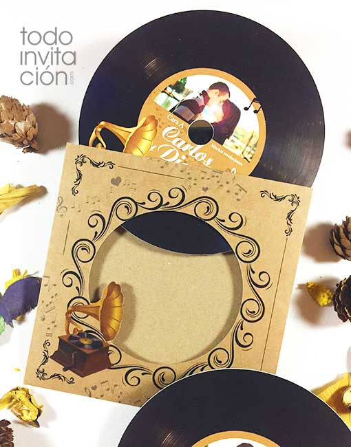 invitacion de boda disco de vinilo