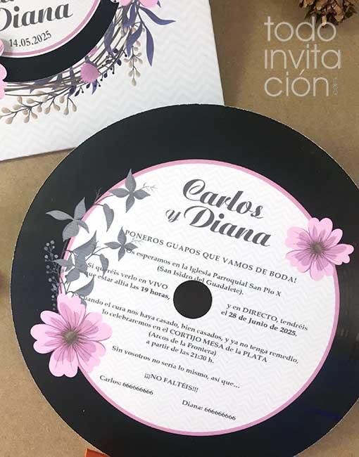 invitación de boda disco de vinilo flores musical