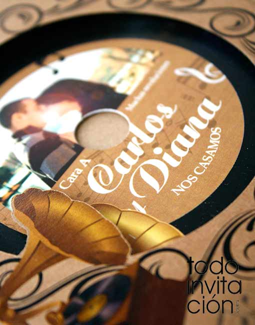 invitacion de boda musical disco