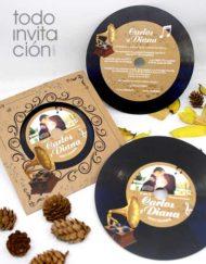 invitación de boda disco vinilo gramofono original