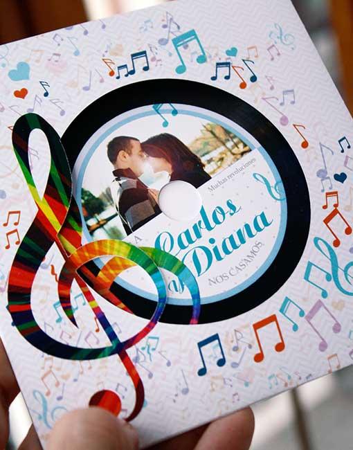 invitación de boda disco de vinilo notas musicales