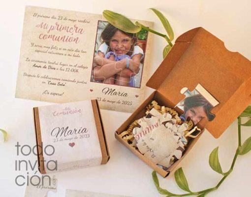invitación original puzzle de comunión