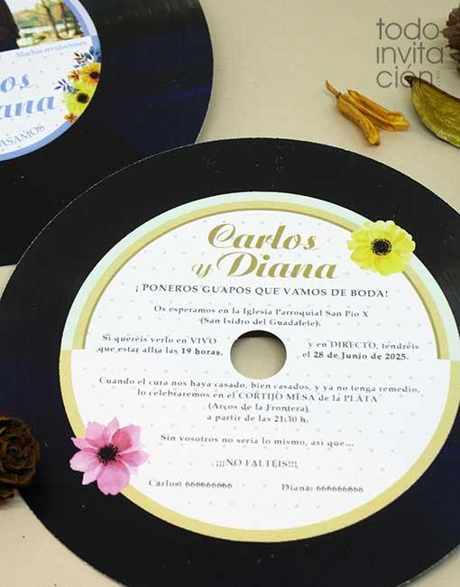 invitacion disco para bodas