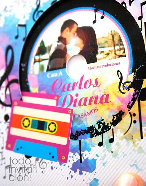 invitación boda disco de vinilo casette