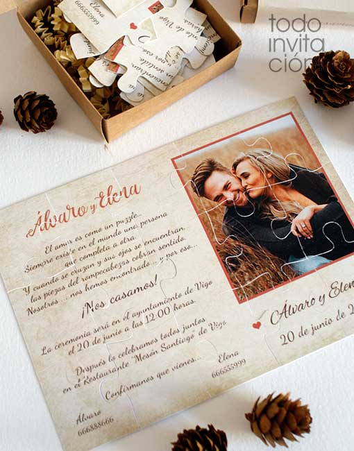 Invitación puzzle boda