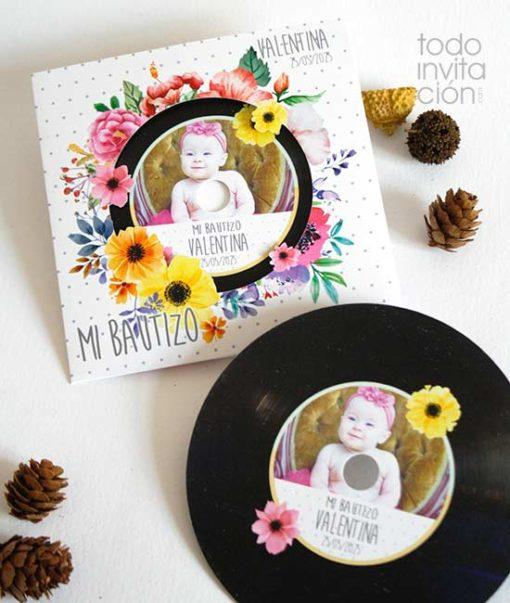 invitacion bautizo original disco