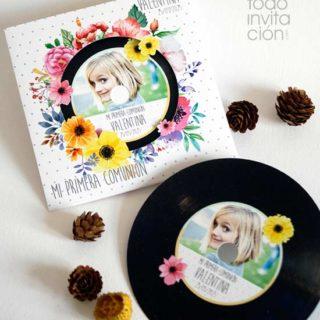 invitación disco comunión original y divertida