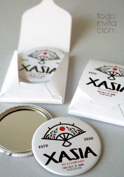 espejos personalizados con tu logo + caja